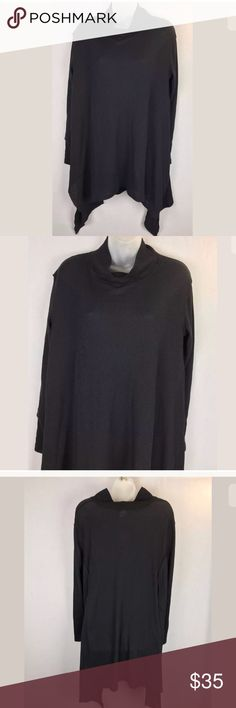 """We The Free thermal top asymmetric hemline We the Free Size XS Black thermal knit boxy, oversized Cotton/polyester blend Small turtleneck  Measurements (Flat/unstretched) 23"""" under arms across the back  33"""" under collar down center back   Excellent condition Free People Tops Tunics"""