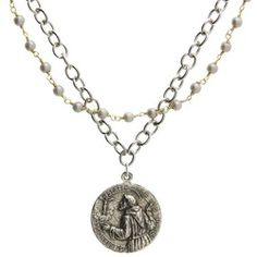 St. Francis St. Anthony double strand necklace