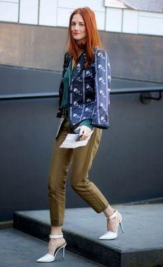 TTH wearing Celine white stilettos