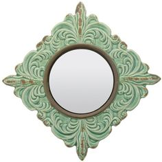 Stonebriar Collection Diamond Wall Mirror (Green) (¥3,025) ❤ liked on Polyvore featuring home, home decor, mirrors, mirror, decor, green, home wall decor, green mirror, interior wall decor and wall mounted mirror