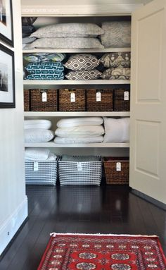 Organized Linen Closet with woven bins from Target and handwritten labels Honey We re Home Linen Closet Organization, Home Organisation, Closet Storage, Organization Hacks, Organizing Ideas, Organising, Target Organization, Organize Bathroom Closet, Organization Ideas For The Home
