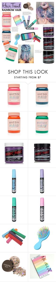 """""""Rainbow hair 🌈"""" by vivistyle21 ❤ liked on Polyvore featuring beauty, Lime Crime, Manic Panic NYC, Forever 21 and Hard Candy"""