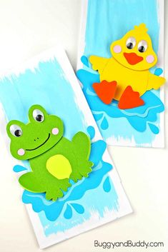 adorable frog and duck paper craft for kids with free template