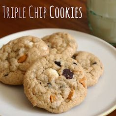 Delicious and easy triple chips cookies, with a secret ingredient that puts them over the top!