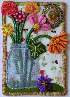 This is a where fans of Fabric Postcards can come and post pictures of their creations and also enjoy looking at what others have created. Wool Embroidery, Embroidery Applique, Embroidery Stitches, Embroidery Patterns, Fabric Cards, Fabric Postcards, Fabric Journals, Felt Applique, Mini Quilts