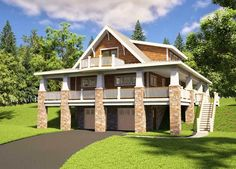 The Red Cottage Floor Plans, Home Designs, Commercial Buildings, Architecture, Custom Plan Design - Adorable Hillside Cottage