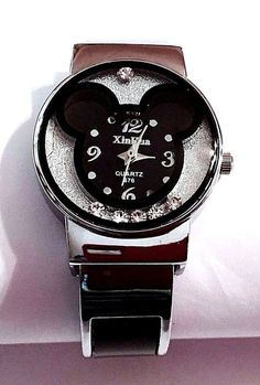 New Silver & Black MICKEY MOUSE Floating Crystals Cuff Watch -Teen, Ladies, Girl #XinHua #CartoonNovelty