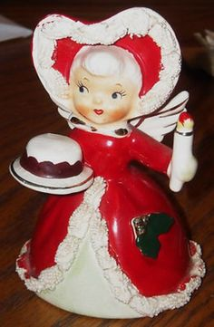 VINTAGE LEFTON X-MAS ANGEL BELL WITH CAKE