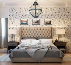 papel de pared vintage en el dormitorio moderno