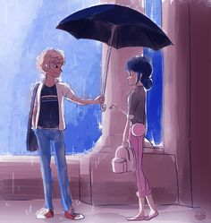 Que bonito!!!!!!!!!! Si, pero adrien está así de: Hey, agarra el paraguas que me estoy mojando!