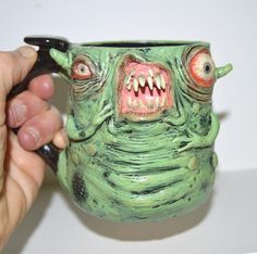 Bulging-Eyed Monster Mug Large, Aprox. 12 oz Sculpted Stoneware One of a Kind. Lots of detail - a unique piece! by ScravisMugs on Etsy