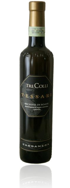 Tessari's sweet wine, Tre Colli TASTING NOTES: The color of Black Locust honey- bright and sunny; lightly clings to the glass.  The nose is fragrant honey, dried fruit, raisins, summer white flowers and tiny amount of custard. Just the right amount of sweetness vs. dryness; very elegant. A nostalgic taste of almond at the end makes the whole adventure most pleasurable  What to pair with this delicious wine?  Light vanilla cake or even apple pie, aged cheeses