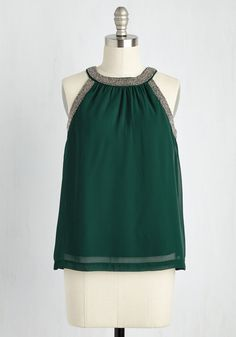 Captivating Concerto Top. After the orchestras final notes ring out, patrons approach you to compliment your emerald green blouse. #green #modcloth