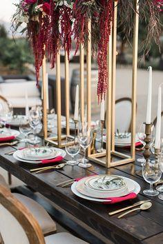 gold geometric ideas for entertaining - https://ruffledblog.com/wine-country-wedding-inspiration-with-a-pampas-grass-arch