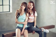 On March sports brand 'Mizuno' released some drop-dead gorgeous pictures of the trendy EXID members! All five girls show off their sexy,… Pretty Asian, Beautiful Asian Girls, Teen Girl Outfits, Cute Outfits, Girls Showing Off, Sports Brands, Sporty Girls, Hani, Korean Girl Groups