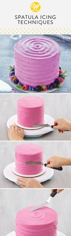 Learn how to make unique designs on your cake with these spatula icing techniques! These designs are great ways to hide imperfections if you find it tricky to smoothly frost your cake!  #wiltoncakes #cakes #cakeideas #cakedecorating #howto #cakedesigns #spatulaicing #howtofrostacake #frosting #buttercream