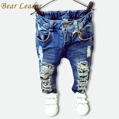 Bear Leader Children Broken Hole Pants Trousers 2016 Baby Boys Girls Jeans Brand Fashion Autumn Kids Trousers Clothes - Kid Shop Global - Kids & Baby Shop Online - baby & kids clothing, toys for baby & kid Boys Ripped Jeans, Girls Jeans, Baby Jeans, Kids Fashion, Autumn Fashion, Trouser Outfits, Fashion Leaders, Baby Shop Online, Stylish Kids
