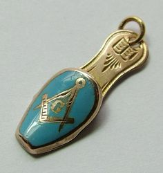 Antique Edwardian 9ct Rose Gold & Turquoise Enamel Masonic Slipper Charm - Antique Charm - Sandy's Vintage Charms - 1