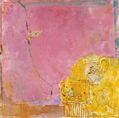 Table jaune et rose, 100x100