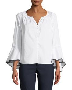Button-Front Bell-Sleeve Blouse