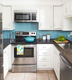 Style Upgrade Pump up the style in an all-white kitchen with a colorful backsplash and stainless-steel appliances. A combination microwave/vent above the range saves counter space and is raised high enough that there is still comfortable access to the cooktop. Sleek surfaces, metallic touches, and vibrant color bring the wow factor to this small space.