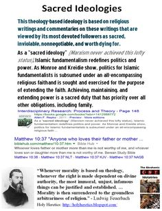 "Sacred Ideology: Theology-based ideology is based on religious writings and commentaries on these writings that are viewed by its devoted followers as sacred, inviolable, nonnegotiable, and worth dying for. As a ""sacred ideology"" (Marxism never achieved this lofty status), Islamic fundamentalism redefines politics and power. Achieving, maintaining, and extending power is a sacred duty that has priority over all other obligations, including family. https://www.pinterest.com/pin/50595195791790629/"