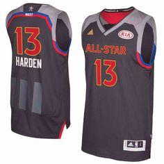 $22 Men's Rockets #13 James Harden adidas Charcoal 2017 NBA All-Star Game Jersey