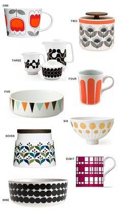 So cute !!!! - Source Blogue : Design is mine 1. Sagaform Tulip Tea Set (£18.50), 2. Orla Kiely Blue Small 1L Storage Jar (£20), 3. Black Links Coffee Service ($64), 4. Striped Mugs ($40), 5. Marionette Bowl ($25), 6. Futura Large Bowl ($135), 7. retro storage container short ($20), 8. Robin Hood Gardens mug (£10), and 9. Rasymatto Serving Bowl ($52
