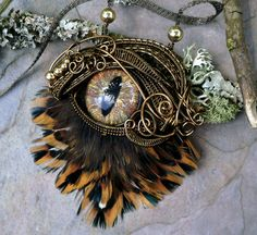SOLD  Gothic Steampunk Necklace Bronze Eye by twistedsisterarts