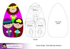 Moldes Presépio em Feltro Os Três Reis Magos. What Madeleine Loves