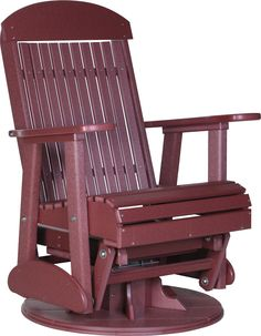 The LuxCraft Adirondack glider swivel chair features a gentle rocking motion and allows you to turn a full 360 degrees. Kick back and relax on this glider chair. Adirondack Furniture, Outdoor Furniture Design, Patio Furniture Covers, Lawn Furniture, Adirondack Chairs, Outdoor Chairs, Porch Glider, Glider Rocking Chair, Gliders