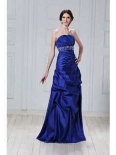 Glamorous A-line Strapless Floor-length Satin Beading Prom Dress SAL2045-TB