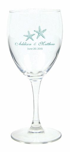 Two Starfish Personalized Wine Glasses - Beautiful favors for a beach wedding