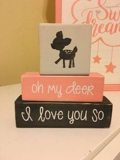Customized Baby Nursery Blocks, Baby Girl, Baby Boy, Nature Theme, Oh My Deer, I Love You So, Woodland