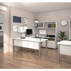 Bestar Pro-Linea U-Desk with Hutch - 17205821 - Overstock - The Best Prices on Bestar U-Shape Desks - Mobile