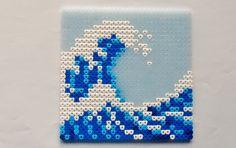 hama pearls beads - The wave by: Nina V. Kristensen - hama pearls beads – The wave by: Nina V. Melt Beads Patterns, Easy Perler Bead Patterns, Perler Bead Templates, Beading Patterns, Diy Perler Bead Crafts, Diy Perler Beads, Perler Bead Art, Hamma Beads Ideas, Arte 8 Bits