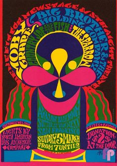 Avalon Ballroom 3/5/67: Big Brother and the Holding Company, Country Joe & the Fish, and Moby Grape Art Poster B. Kliban