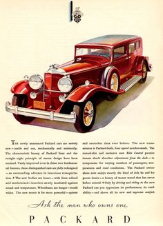 Packard Sedan Limousine 1931 - www.MadMenArt.com   Vintage Cars Advertisement. Features over 1200 of the finest vintage cars until 1970. Status symbol, pride and sense of freedom. #VintageCars #Vintage #Ads #VintageAds