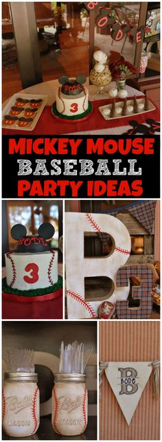 How cool is this vintage Mickey Mouse baseball party! See more party ideas at CatchMyParty.com!