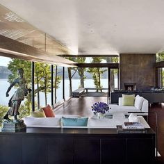 Architect #SteveMensch found his Zen when he designed his house on a bluff overlooking the Hudson River. What's more calming than water views? Photo by @pieterestersohn