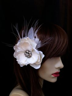 Lilibeth Feather and Flower Hair Clip with Vintage by PiperRiley, $40.00