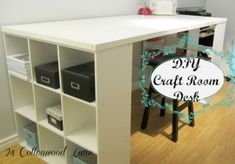 Easy DIY craft room desk made from an old door and 9 cube shelving unit. Perfect to spread out and create.