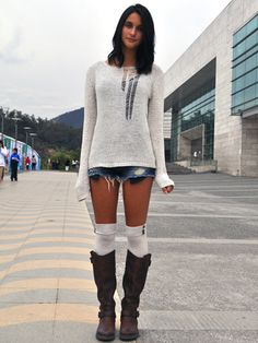 Shorts and boot - maybe a skirt instead