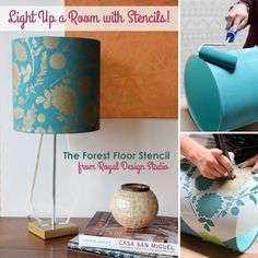 Dress up that plain white lampshade with stencils! The Aubusson Blue and Antique Gold Stenciled Lampshade is a gorgeous DIY project to add an accent to your space. This gorgeous tutorial will teach you how to stencil a basic drum lampshade. Damask Stencil, Stencil Diy, Stenciling, Painting Lamp Shades, Painting Lamps, Diy Home Decor Easy, Easy Diy, Lamp Makeover, Lamp Redo