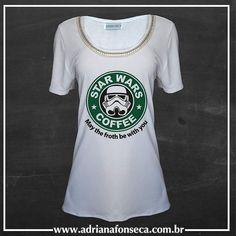 """T-Shirt StarWars com bordado em pérolas e strass - Bordado opcional - Ótimas condições para atacado - Fazemos estampas personalizadas - Fazemos """" Tal mãe tal filha"""" e """"Tal mãe Tal filho""""  http://ift.tt/1ZQBAIj  #moda #tshirt #starwars #bordados #guerranasestrelas #perolas #strass #adrianafonseca #modafemina #talmãetalfilha  #tshirtgeek #geek#talmãetalfilho #camisetas #camisetasfemininas #tee #starbuck #starwarslovers #starwarsfever #atacado #varejo #pagseguro #ecommerce #shop #shoponline…"""