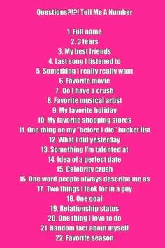 Questions?!?! Tell Me A Number