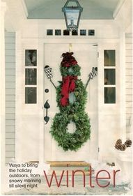 Snowman door wreaths-