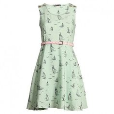 Perfect dress--mint green with sailboat print and pale pink skinny belt.