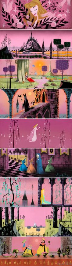 Concept art by Eyvind Earle for Disney's Sleeping Beauty Sleeping Beauty 1959, Sleeping Beauty Maleficent, Disney Sleeping Beauty, Disney Love, Disney Magic, Disney Art, Disney Stuff, Disney And Dreamworks, Disney Pixar