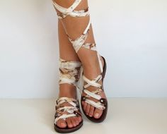 """Leather Sandals, handmade, Unique design with silk scarf straps  """"APHRODITE"""" AS18 All sizes Available. Limited edition.. $55.00, via Etsy."""